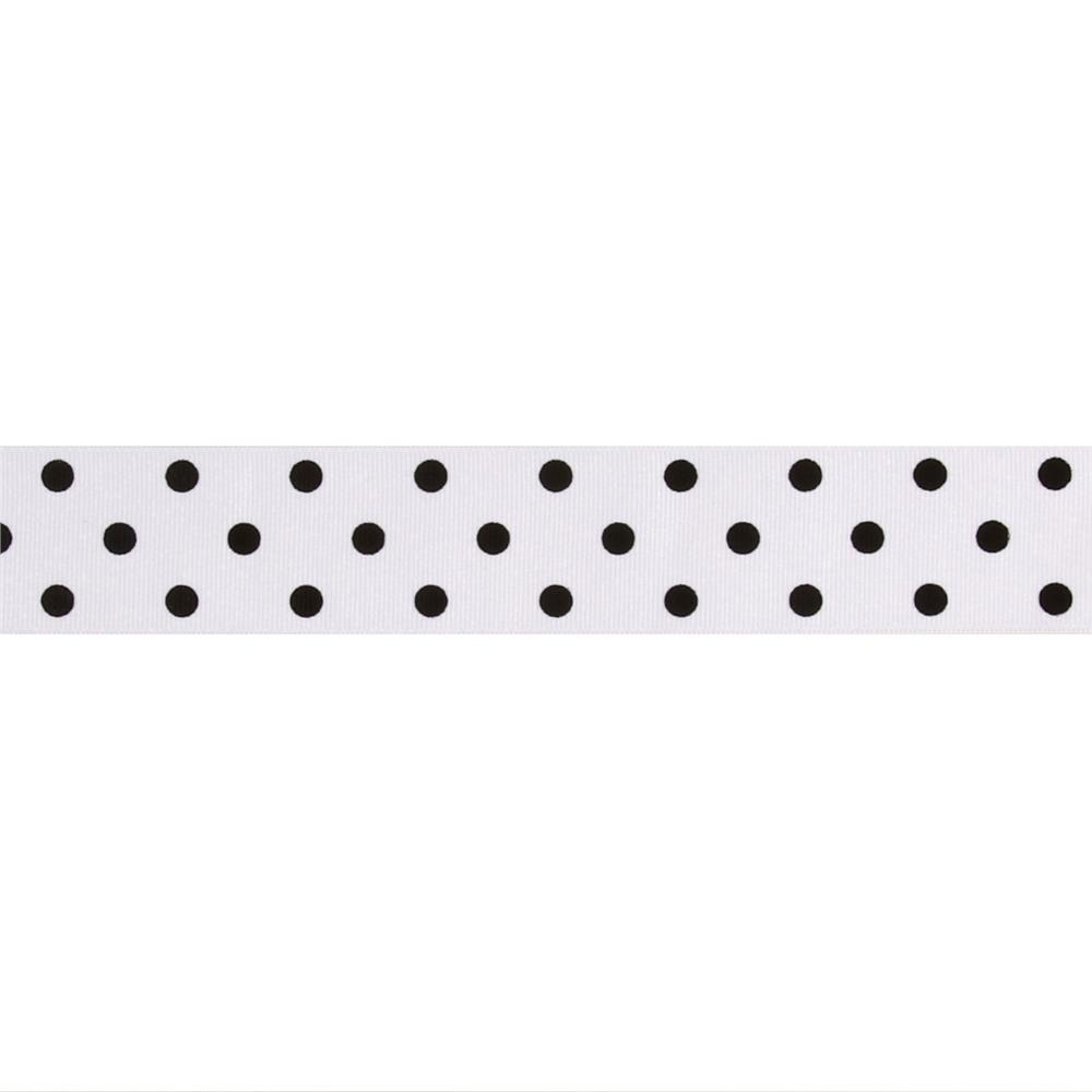 1 1/2'' Grosgrain Dippity Dot Ribbon White/Black