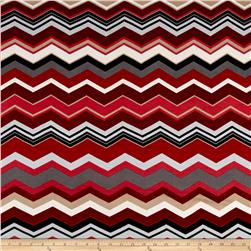 Chevron Chic Jersey Knit Grey/Red