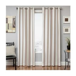Sunbrella 84'' Grommet Stripe Outdoor Panel Natural/Antique Beige