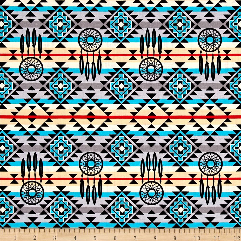 The Old Southwest Native Dream Catcher Grey/Turquoise