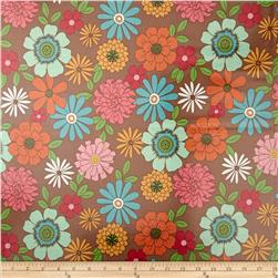 Riley Blake Laminate Flower Main Brown