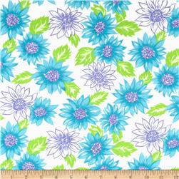 Cotton Jersey Knit Floral Turquoise/Green