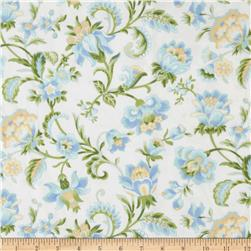 American Bouquet Flannel Large Floral White