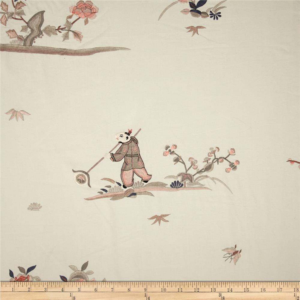 Robert Allen Promo Oriental Games Embroidered Ivory Grey