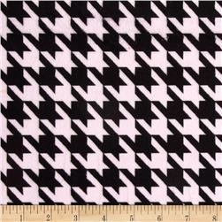 Minky Houndstooth Light Pink/Black Fabric