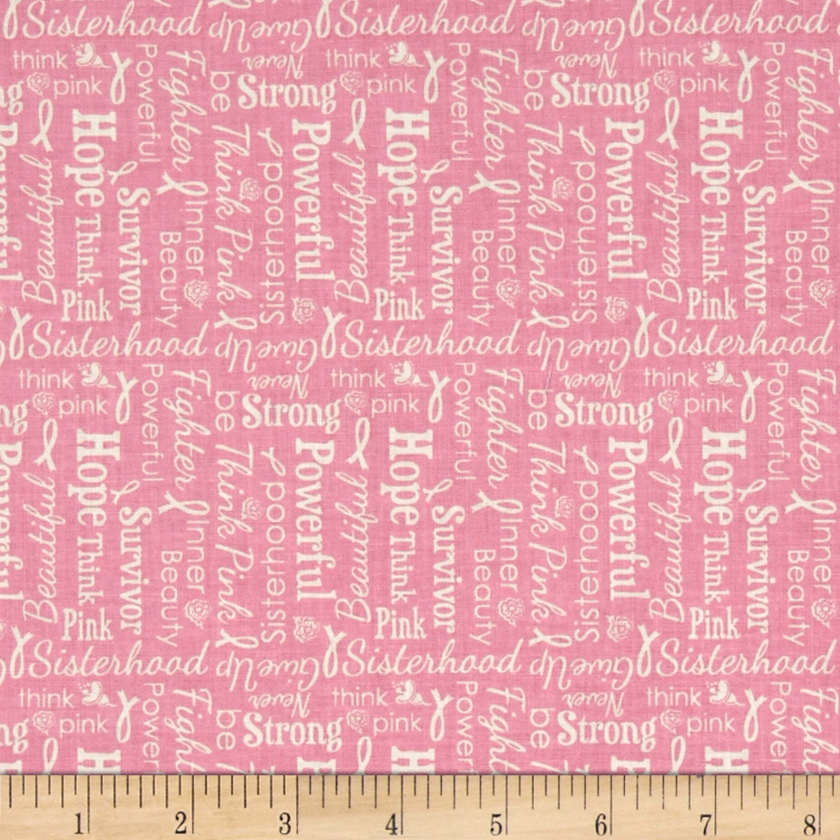 Riley Blake Think Pink Words Pink Fabric