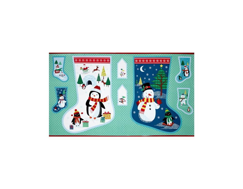 Frosty Large Stocking 24'' Panel Blue Fabric By The Yard
