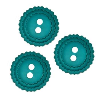 Fashion Button 3/4'' Pinked Edges Teal