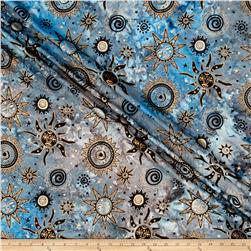 Indian Batik Odyssey Gold Sun Blue/Grey