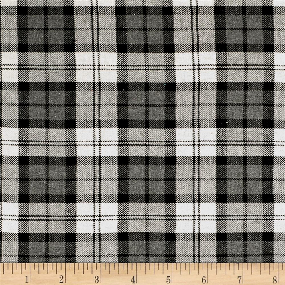 Yarn dyed flannel plaid gray white black discount for Flannel fabric
