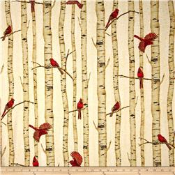 Woodsy Winter Metallic Cardinals in Trees Natural/Gold Fabric