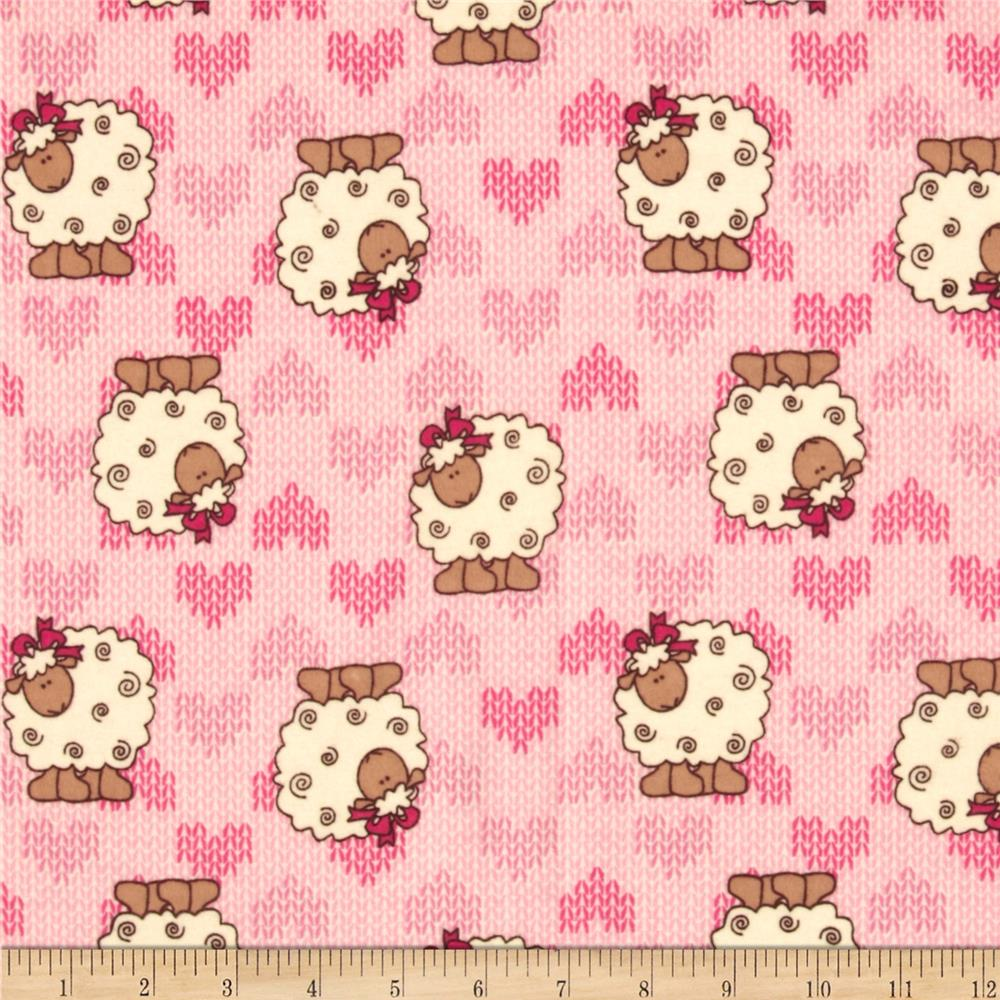 Camelot Flannel Sheep Pink