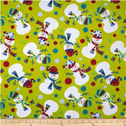 Minky Cuddle Snowman Green Fabric