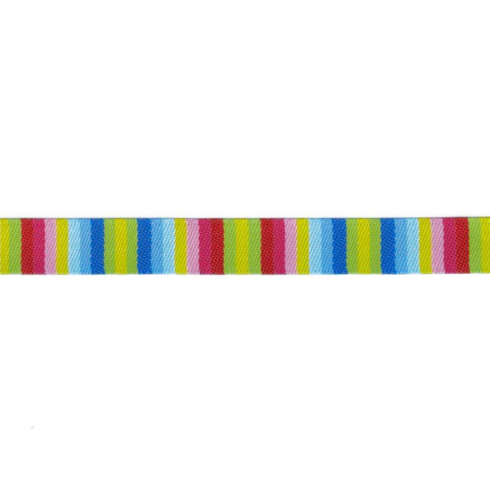 "3/8"" Jane Sassaman Blue/Pink/Yellow Fiesta Stripe Ribbon"