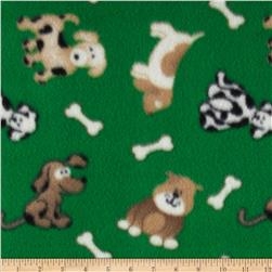 Polar Fleece Prints Dog Bone Green