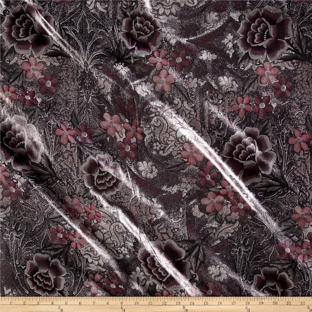 Italian Designer Coated Cotton/Spandex Chintz Floral Grey/Pink
