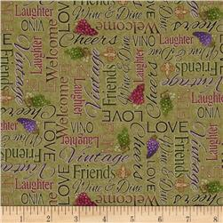 Vineyard Haven Word Sage Green Fabric