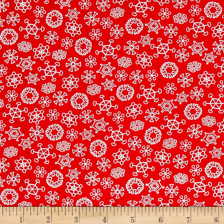 Frosty the Snowman Everyone's Fav Snowman Snowflakes Red Fabric