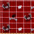 Collegiate Cotton Broadcloth University of Wisconsin Plaid Red