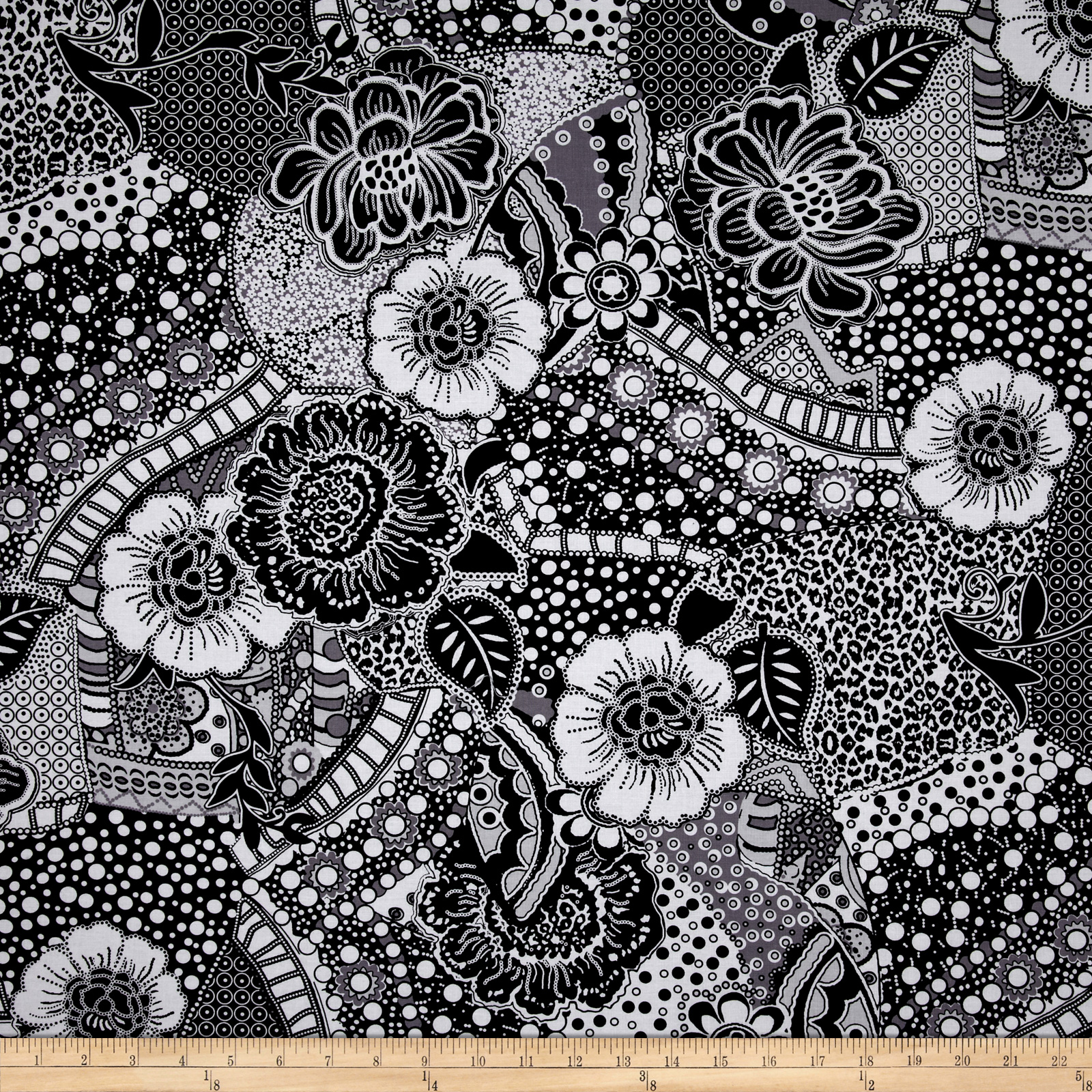 Black Tie Affair Floral Black/Grey Fabric