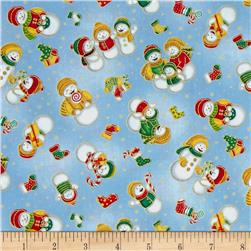 Seasons Greetings Snowmen Blue