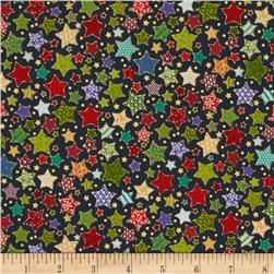 Christmas Metallic Patterned Star Navy