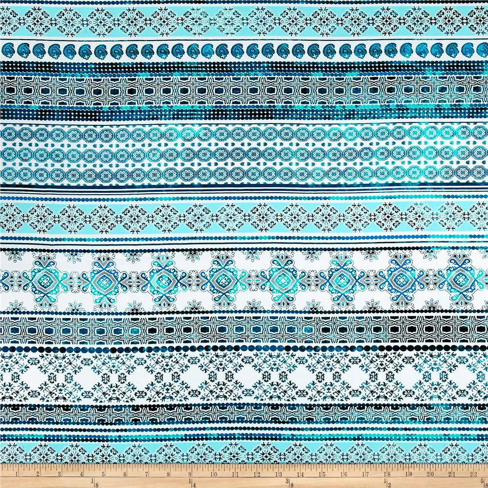Telio Picasso Poplin Patterned Stripe White/Aqua Fabric