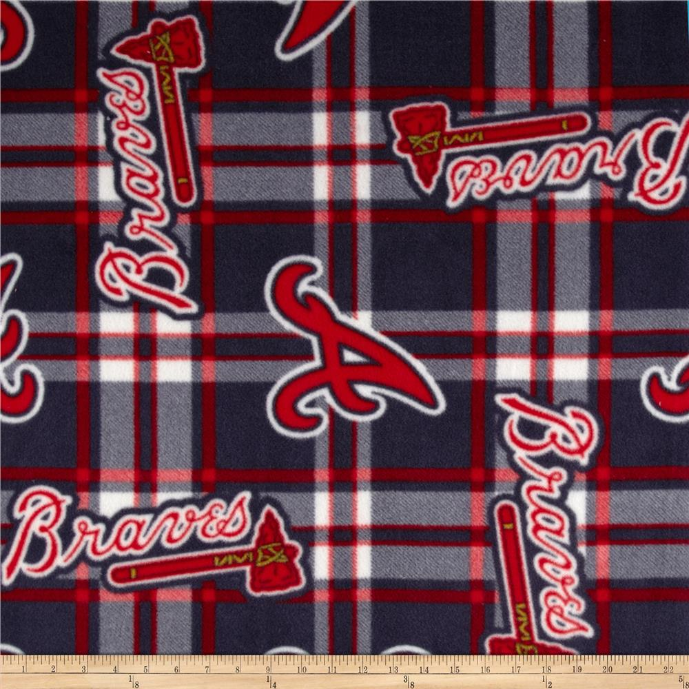 MLB Fleece Atlanta Braves Plaid Navy/Red