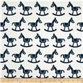 Premier Prints Rocking Horse Twill White/Premier Navy