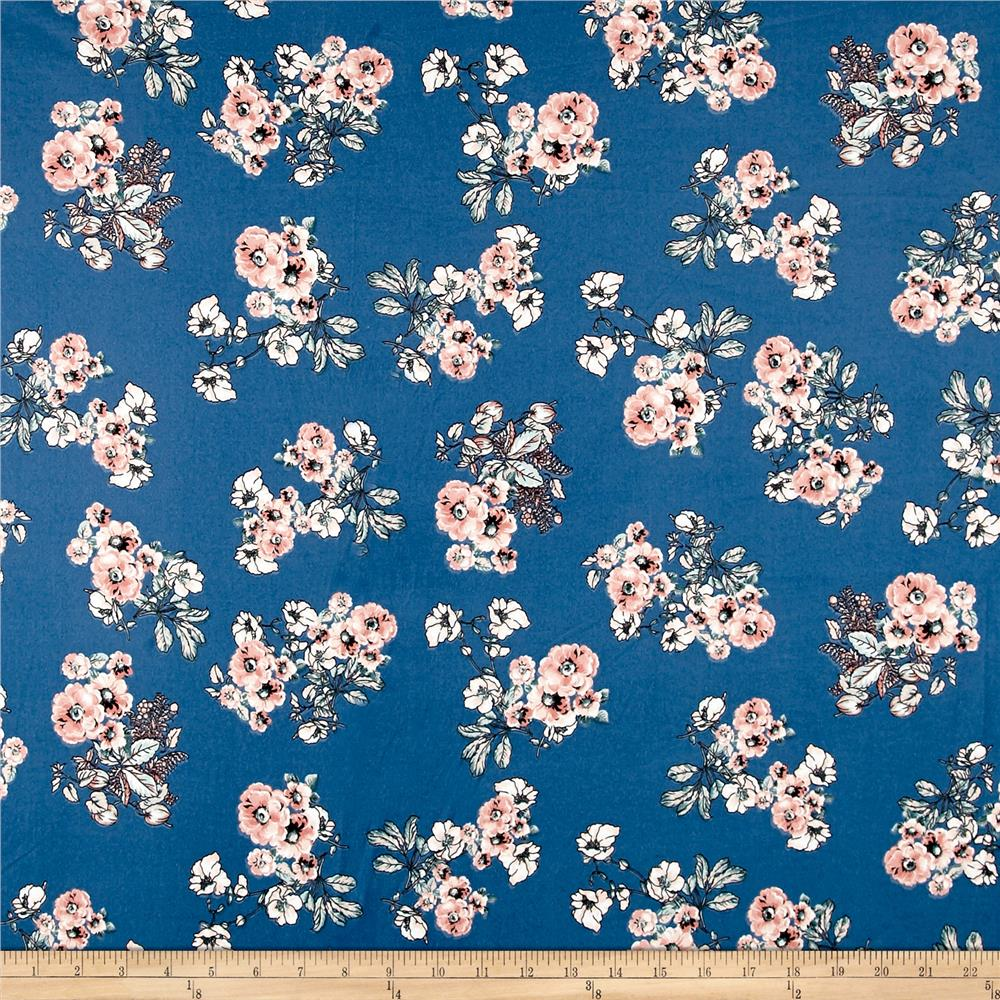 Double Brushed Poly Spandex Jersey Knit Multi Floral Denim Blue/Mauve Fabric