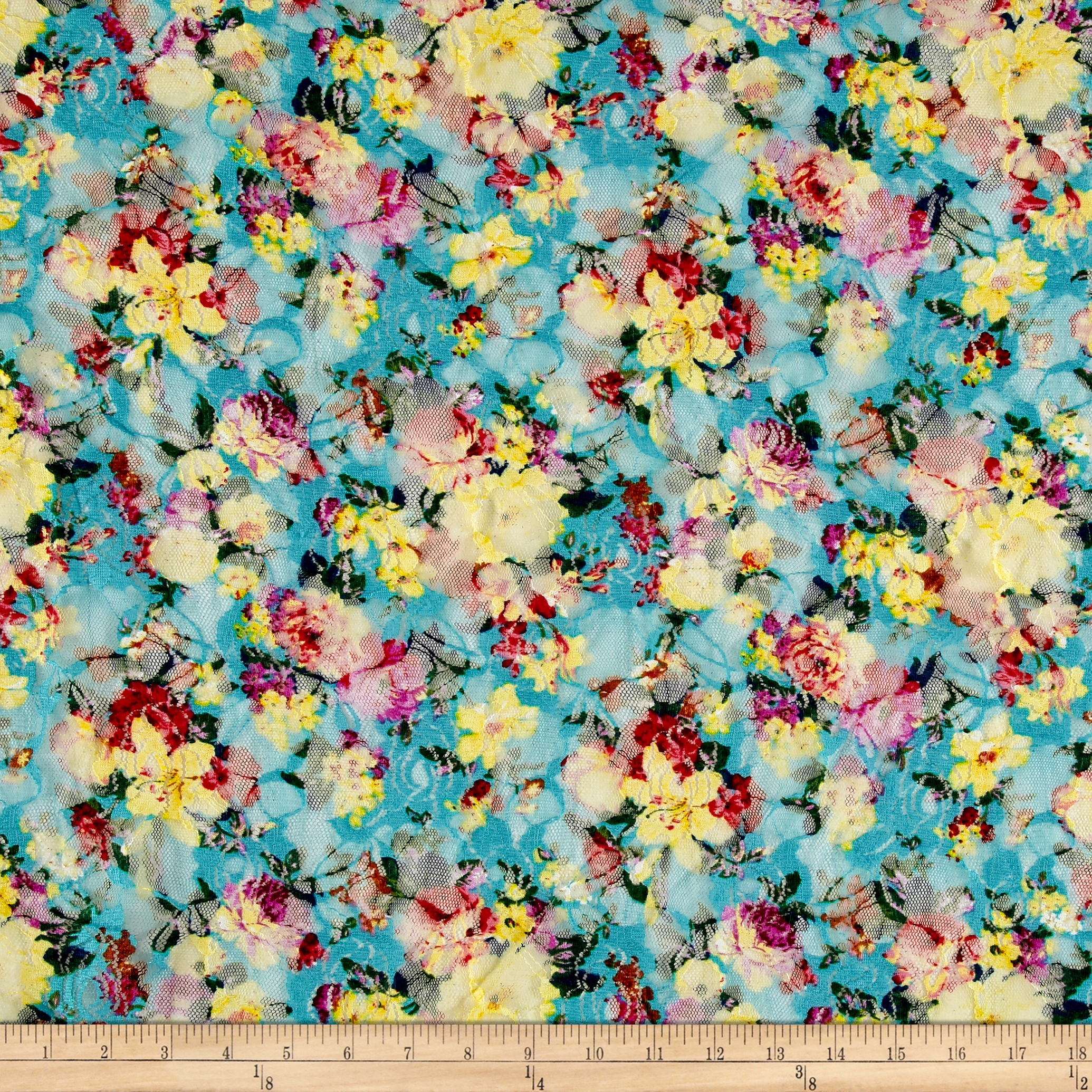 Stretch Floral Lace Cheery Multi Fabric by Fabric Merchants in USA