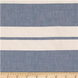 Cotton Linen Stripe Sky/White