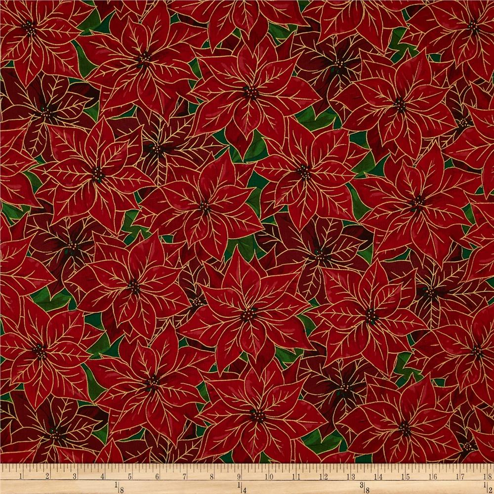 Season's Greetings Large Poinsettia Red