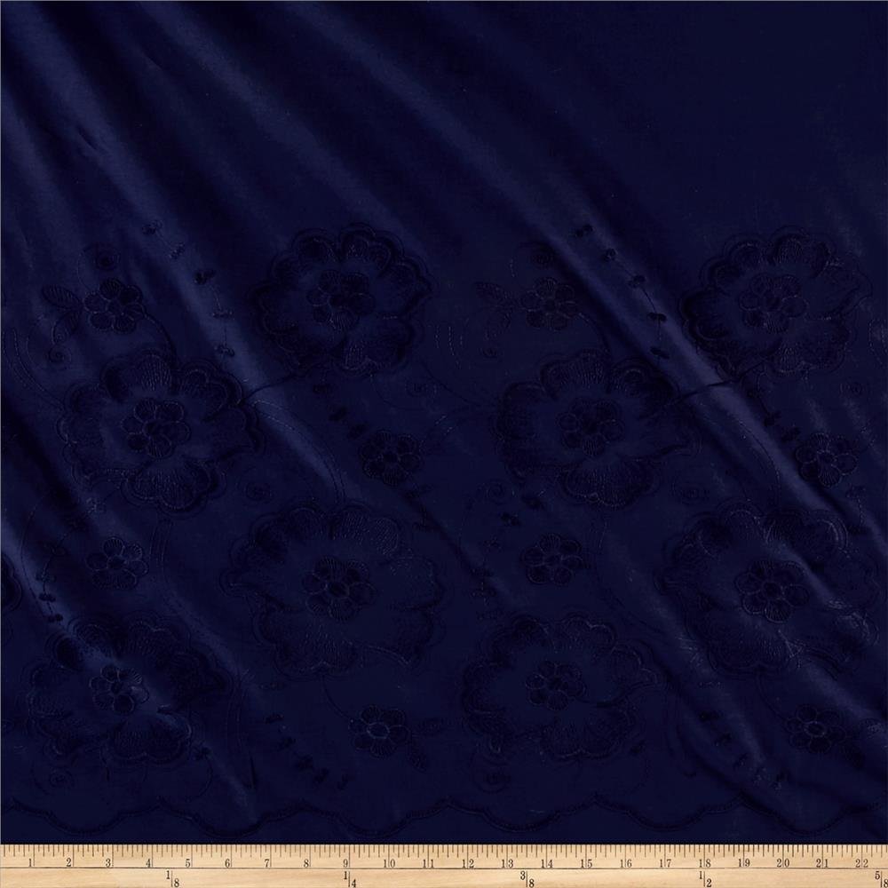 Cotton Embroidery Large Floral Navy