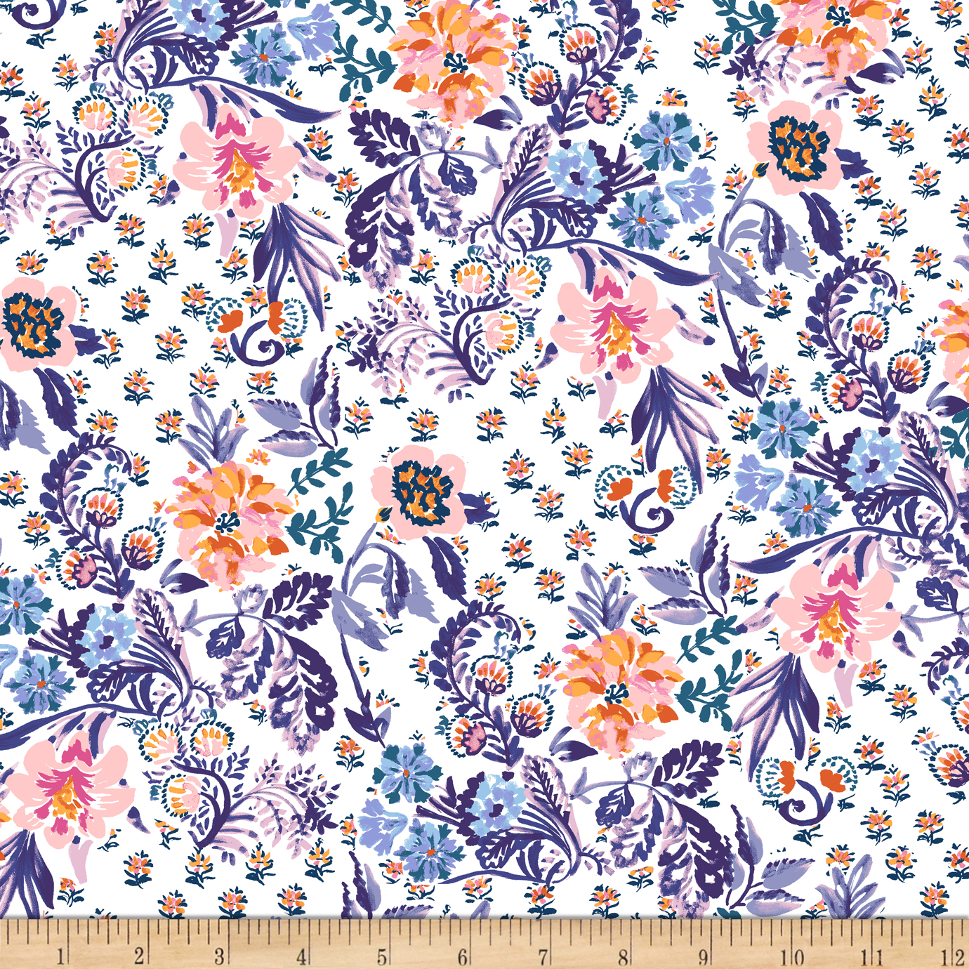 INOpets.com Anything for Pets Parents & Their Pets Elephant's Garden Floral White Fabric