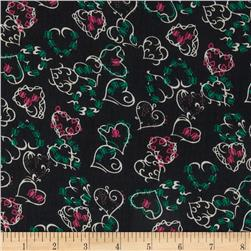 Boutique Peachskin Hearts Black/Red