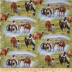Happy Trails Allover Scenic Horses Green