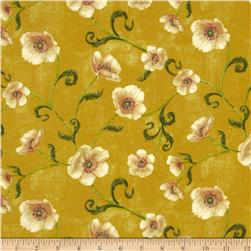 Windflower Flannel Poppies Gold