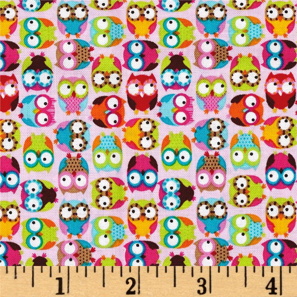 Timeless Treasures Mini's Tossed Owls Pink