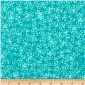 Flannel Sketched Flowers Turquoise