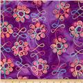Embroidered Indian Batiks Floral Purple