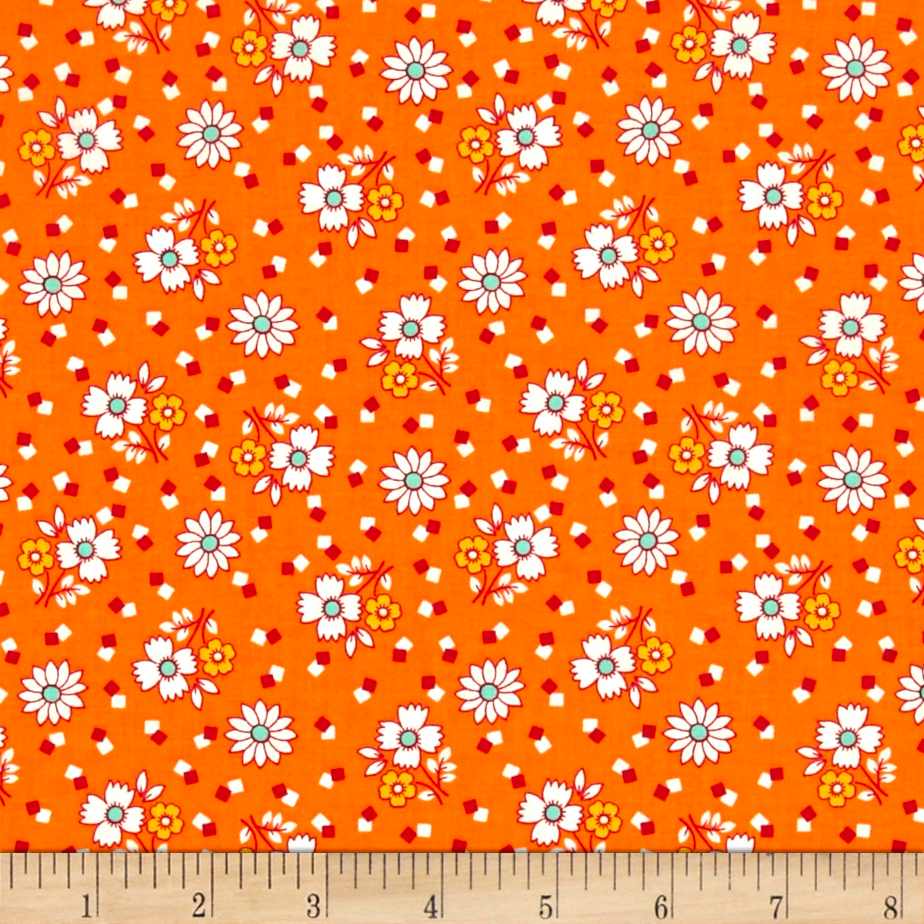Aunt Grace Buds Orange Fabric by Marcus in USA