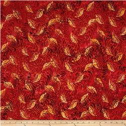 Timeless Treasures Tonga Batik Copper Leaf Etching Red