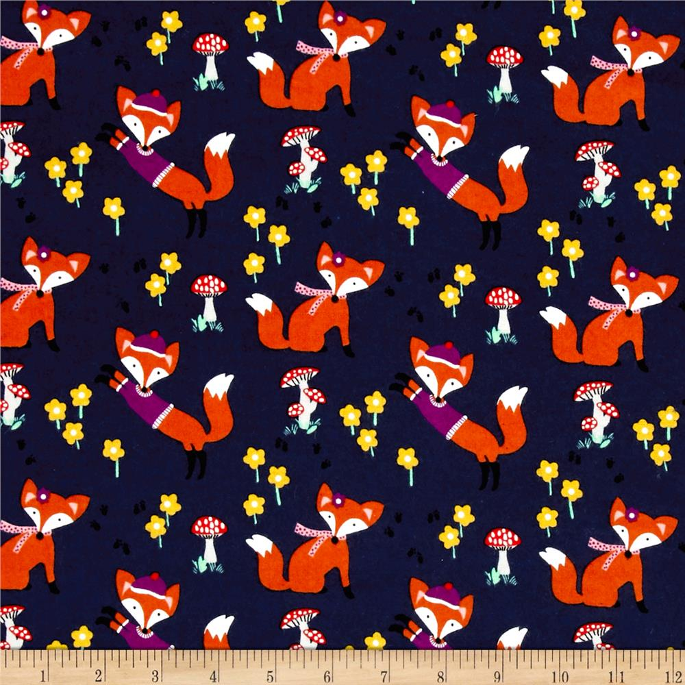 Michael Miller Flannel Lil' Foxy Navy Fabric