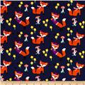 Michael Miller Flannel Lil' Foxy Navy