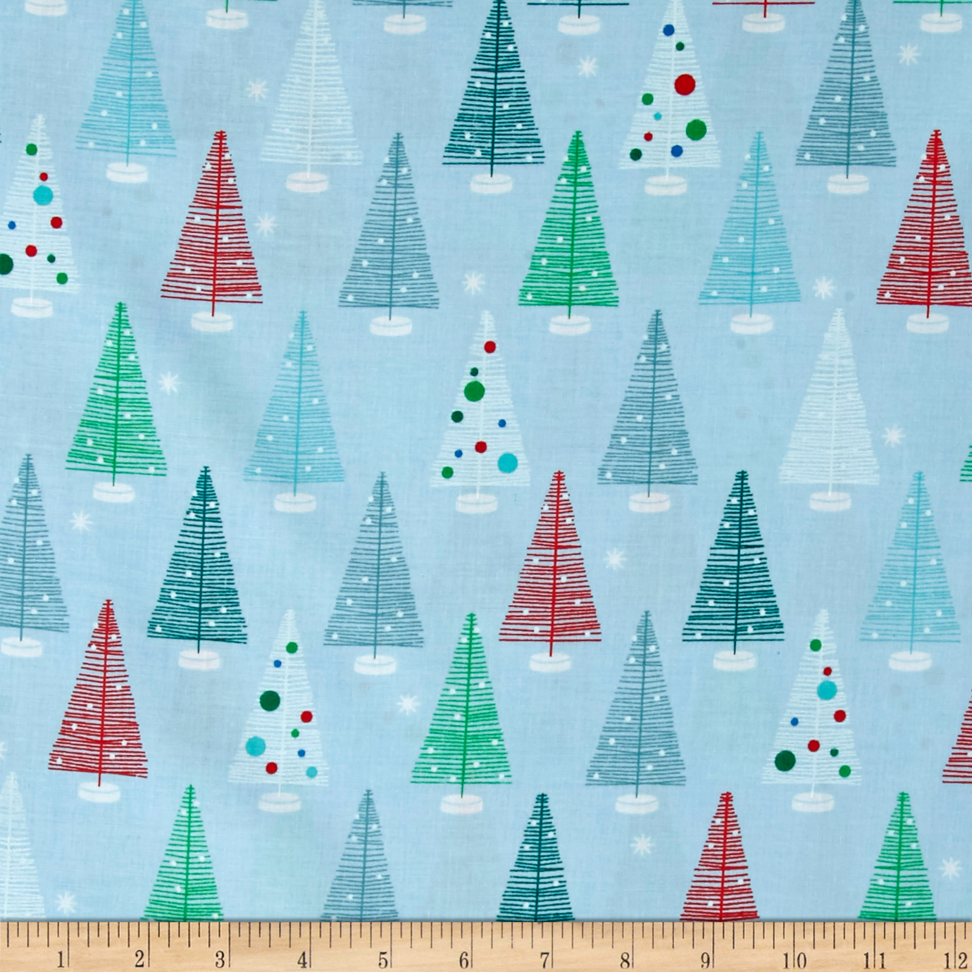 Kaufman Swell Noel Christmas Trees Winter Fabric By The Yard