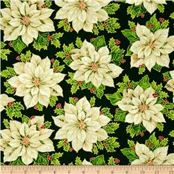 A Happy Christmas Set Poinsettias Green