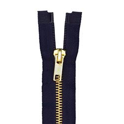 "Coats & Clark Heavy Weight Brass Separating Zipper 22"" Navy"