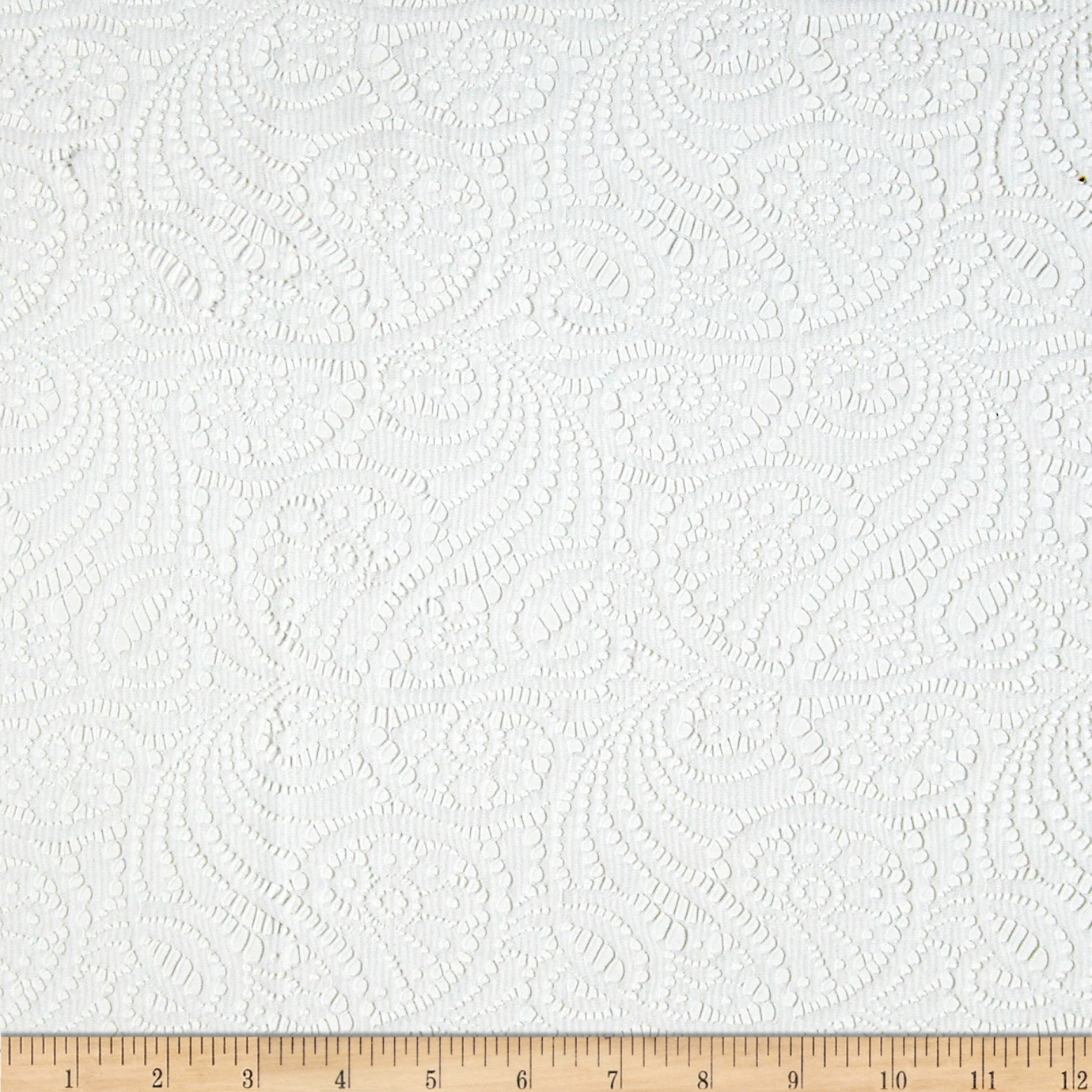 Designer Doily Lace Flourish White Fabric