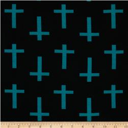 Soft Jersey Knit Crosses Jade/Black